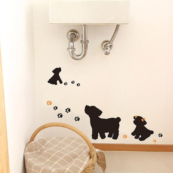 犬のウォールステッカー!消臭抗菌仕様でトイレにぴったり
