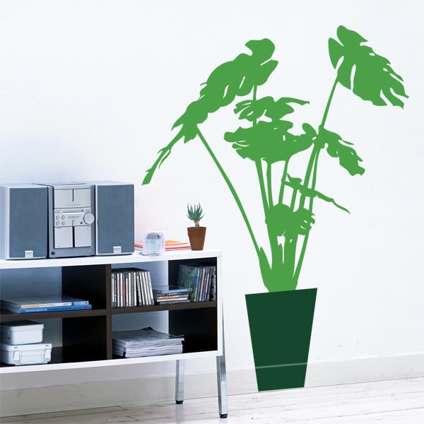 観葉植物ウォールステッカー、グラン モンステラ 高さ約100cm