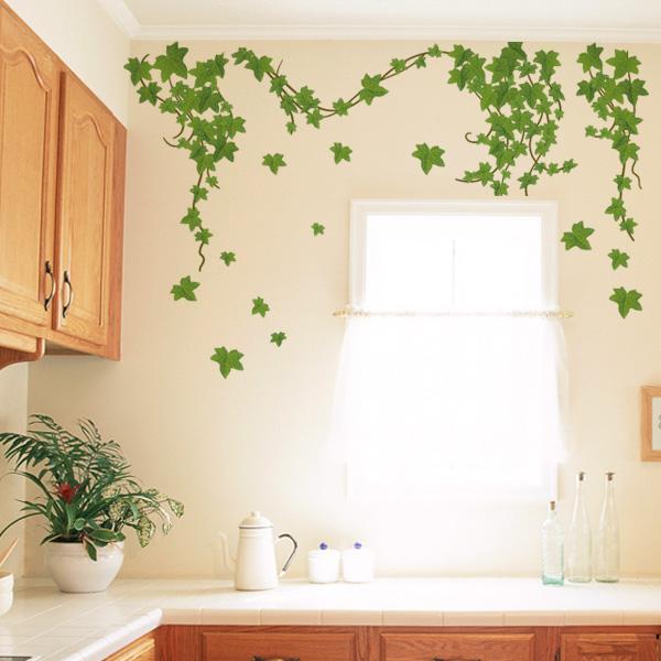 壁に貼る小さい植物のステッカー