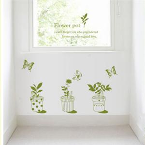 階段に置く植物のステッカー
